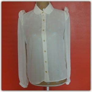 Off White Flowy Ruffled Button Down Blouse